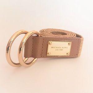 Michael Kors | Gold Logo Raffia Belt L/XL